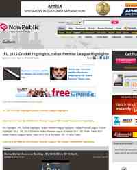 IPL 2013 Cricket Highlights Indian Premier League Highlights: NowPublic